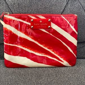 Kate Spade Cometic Bag Clutch Red White